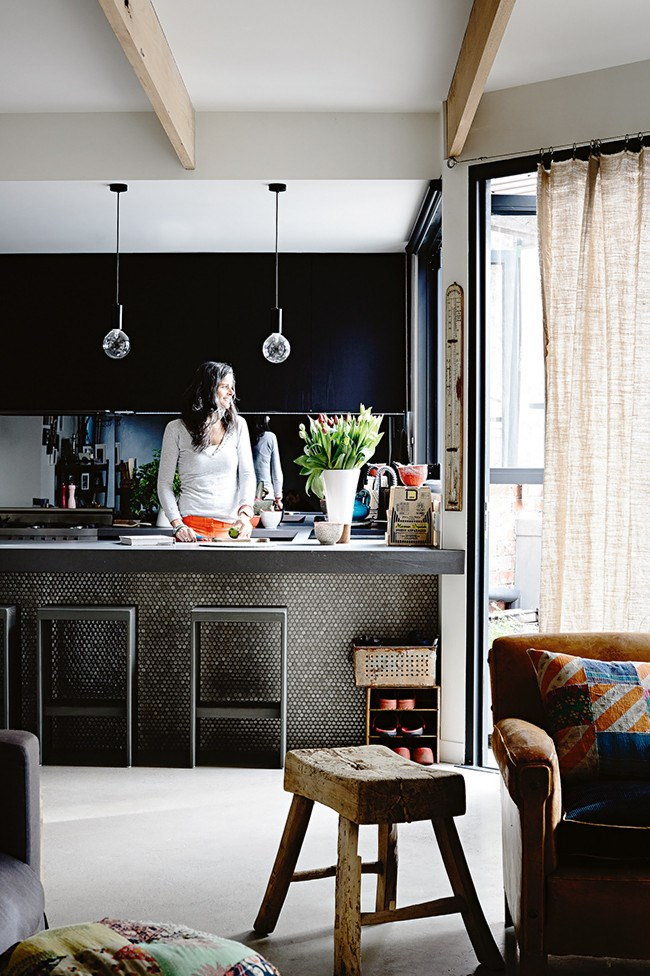 Take a look through the lovingly renovated home of Penny and Ben Collins as seen in [Sunday Style](https://itunes.apple.com/au/app/sunday-style/id603378683?mt=8) magazine.  **Who** Penny Collins and her husband, Ben, director of ESP Merchandise, with their children, Charlie, five, and Claudia, four.  **Where** Armadale, Melbourne.  **What** Rural nest in the urban jungle.  **Kitchen**Everyone tends to congregate here, so it needed to be functional as well as attractive. The bench is made out of stone and copper rimmed in Penny Round tiles. | Photo: Derek Swalwell