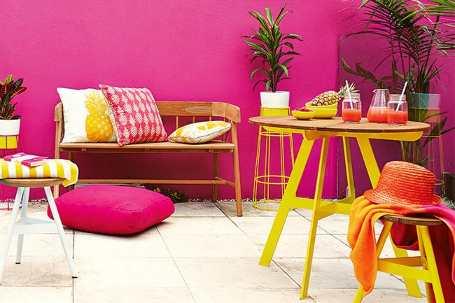 **3\. Bold and bright**  Bring a dash of daring to the table and go a little wild with your palette – vivid pinks and yellows will give your garden a summer vibe all year-round. A portable outdoor table and matching stools are ideal for moving around the backyard chasing the morning sunny spots or dappled shade. | Photo: Alicia Taylor