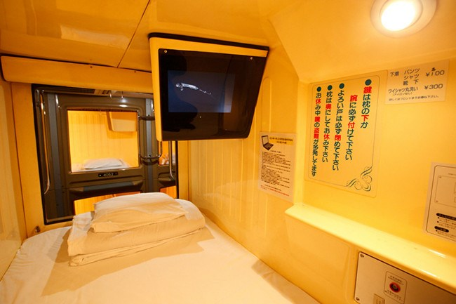 Capsule Hotel, Japan. As the name suggests staying here means sleeping in a capsule. All guests have a private pod equipped with bedding, a TV, and in some cases electrical outlets and Wi-Fi. There are a number of capsule hotels, many of which are male only to cater for business men located in the cities.