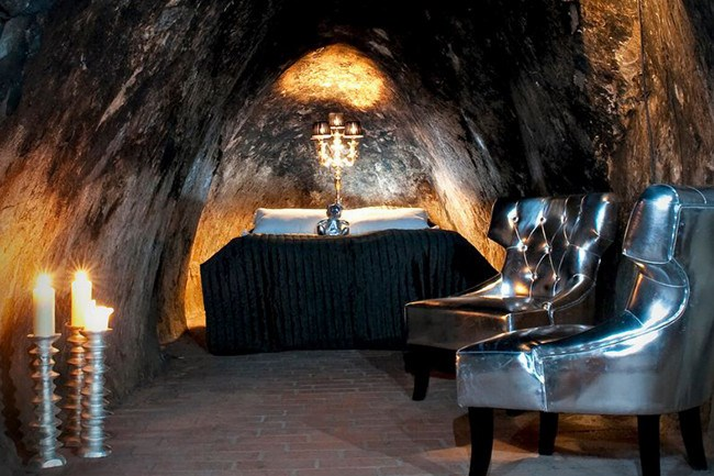 Sala Silvermine, Sweden. If you're not claustrophobic, why not head 155 metres underground and spend the night in Sala Silvermine? Amenities are located above ground. It's only 2 degrees in the suites, so be sure to pack your thermals!