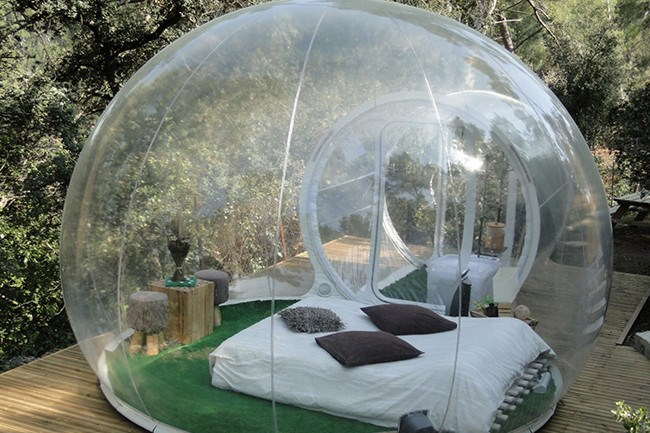 Attrap Reves, France. Sleep under the stars without having to deal with bugs or bad weather! These incredible cocoons have been created entirely from recyclable materials and are maintained by a silent blower which pumps fresh air in continuously.