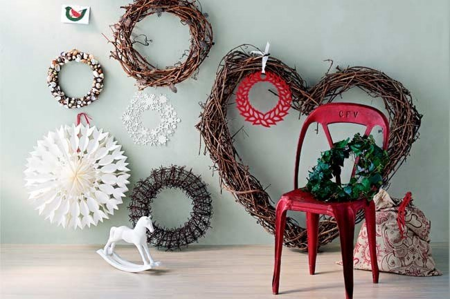 Forget conventional foliage – give this seasonal tradition a modern and original interpretation.  \- Wildwood Weaving Heart vine wreath.  \- [Polli](http://www.polli.com.au/) Acrylic wreath in Red.  \- [Hope & May](http://www.hopeandmay.com/) Paper lantern.
