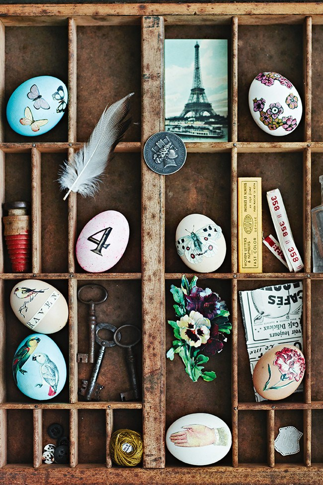 **Easter vignette:** Display your decoupage Easter eggs within a beautifully styled vignette along with other decorations or treasured items in a vintage timber box.
