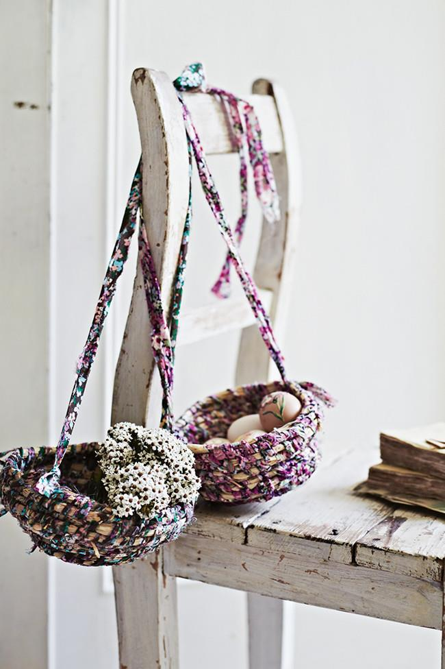 "**Make Easter egg-hunt baskets:**  These gorgeous woven baskets are as pretty as they are practical! Use them to free up little hands on your Easter egg hunt and hang them up on display when you're done.   [How to make Easter egg-hunt baskets](https://www.homestolove.com.au/how-to-make-easter-egg-hunt-baskets-10431|target=""_blank"") >"