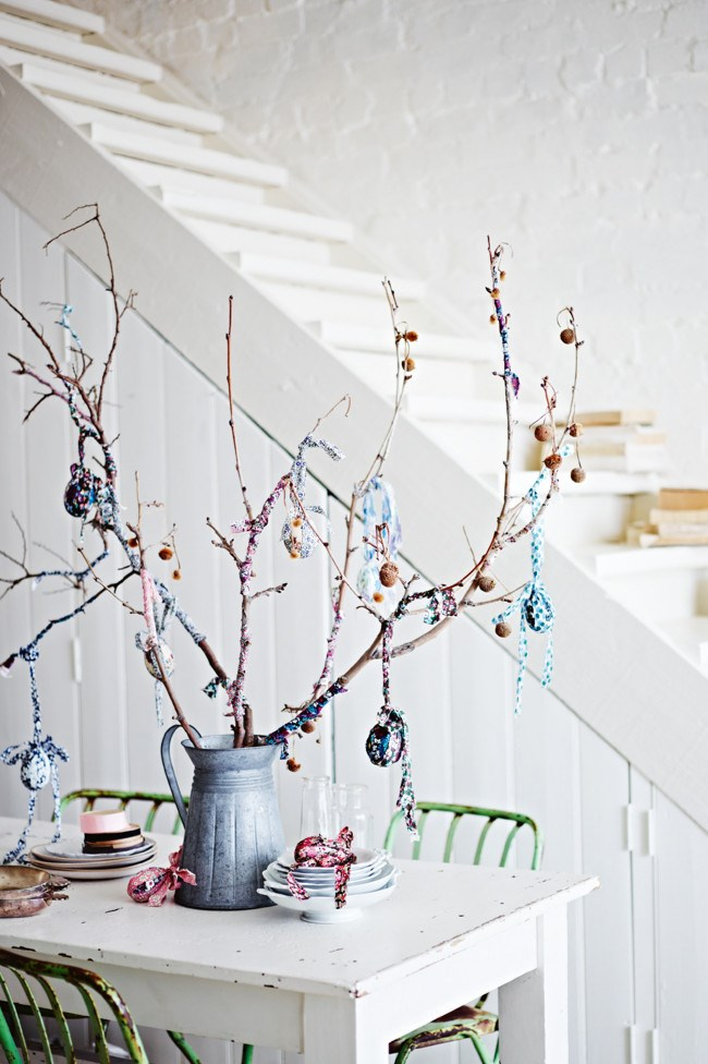 """**Make a table centre piece:** Use the natural beauty of hand blown dyed eggs as a centre piece. Hand in hand with foraged flowers and fruit tree branches, a special table can be easily generated with this [DIY Easter egg tree](https://www.homestolove.com.au/how-to-make-an-easter-egg-tree-10427