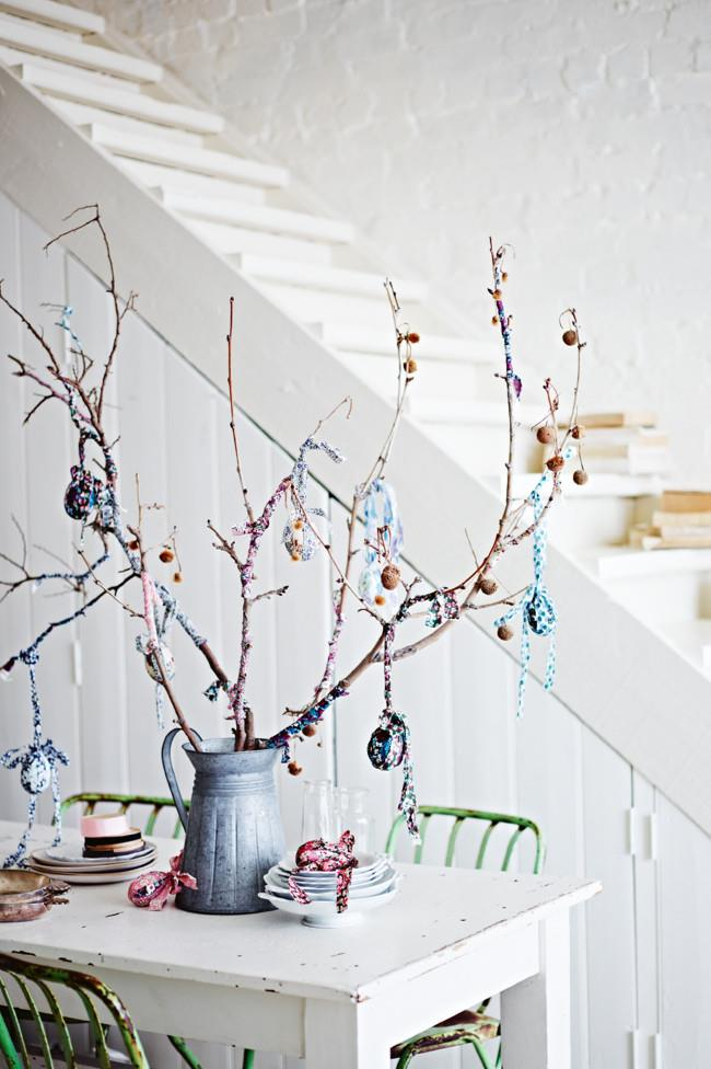 "**Make a table centre piece:** Use the natural beauty of hand blown dyed eggs as a centre piece. Hand in hand with foraged flowers and fruit tree branches, a special table can be easily generated with this [DIY Easter egg tree](https://www.homestolove.com.au/how-to-make-an-easter-egg-tree-10427|target=""_blank"")."