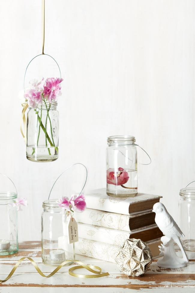 Hanging lanterns. Create something beautiful from old jars you have lying around the kitchen. These lanterns make a simple yet elegant decoration, perfect for weddings. You can pop candles inside them or fill them with your favourite fresh flowers. [How to make hanging lanterns](http://www.homelife.com.au/craft-diy/diy/how-to-make-hanging-lanterns) | Photo: Craig Wall