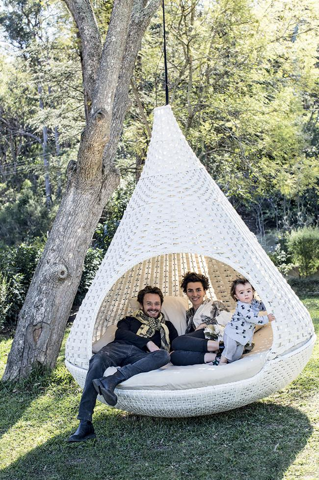 Pablo, Elise and Loulou in 'the nest', which was a wedding present.