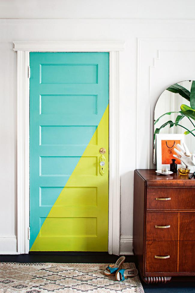 Even interior doors can be given a colourful makeover. Opt for a low diagonal, or go for wide stripes either horizontally or vertically it just depends on how much of the door's detail you want to obscure or highlight.