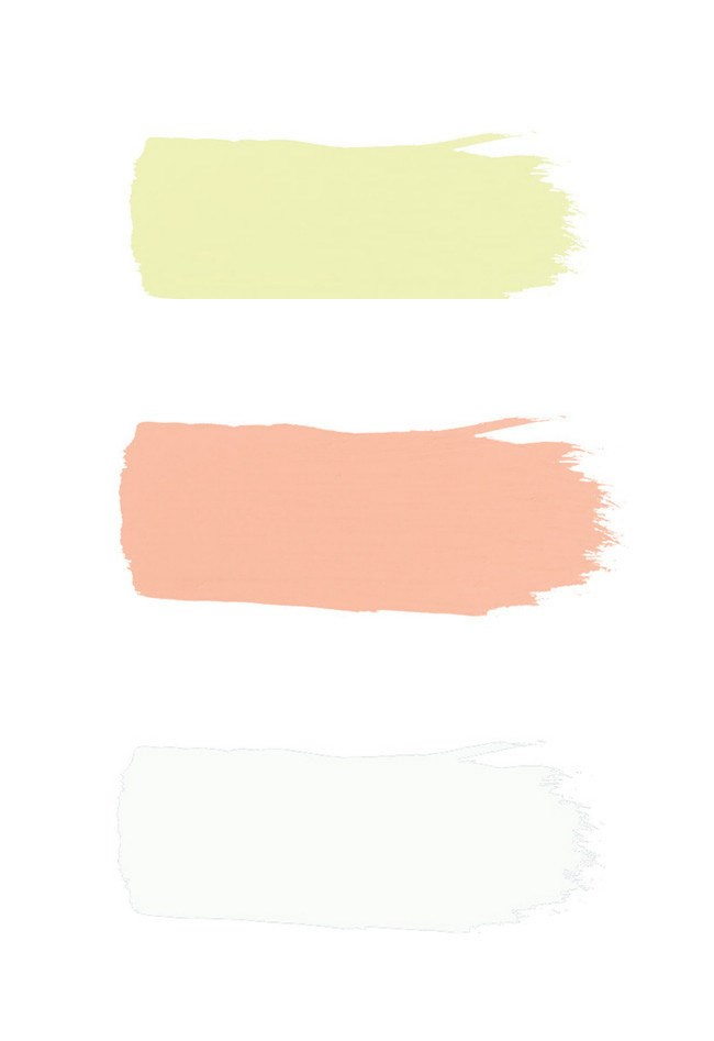 (From top to bottom) We used [British Paints](http://www.britishpaints.com.au/) in Citrus Zing, Peachy Dream and Infinity White