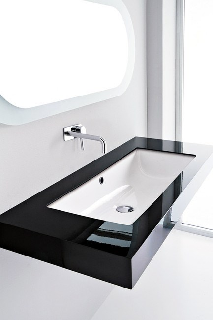 Long, lean and lovely, studio bagno 'Canale 60' basin', from [Cass Brothers](http://cassbrothers.com.au/), is a deserving attention grabber.