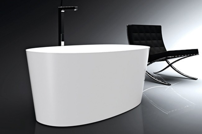 Victoria & Albert's Ios bath, is only 1500mm long but still manages to hold an impressive 390 litres in its sleek, double-ended layout, from [Domayne](http://www.domayne.com.au )
