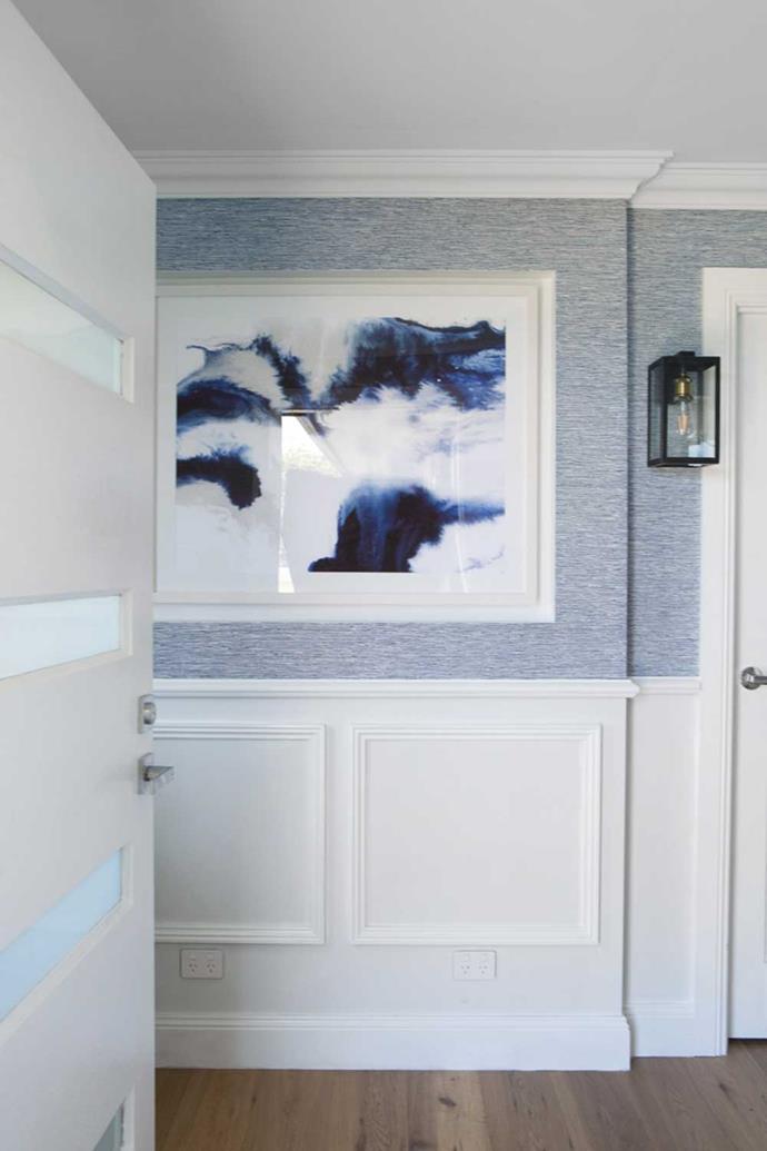 'Seafoam' landscape, $248, Urban Road | 'Thibaut' wallpaper in Navy, Affordable Decorators