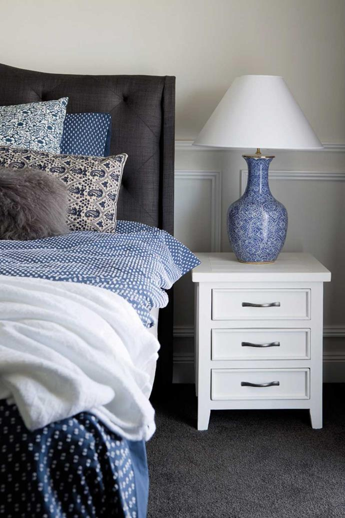 Bedlinen, Canningvale | 'Adagio' headboard in Slate, Bedshed | Assorted cushions, Early Settler & Affordable Decorators