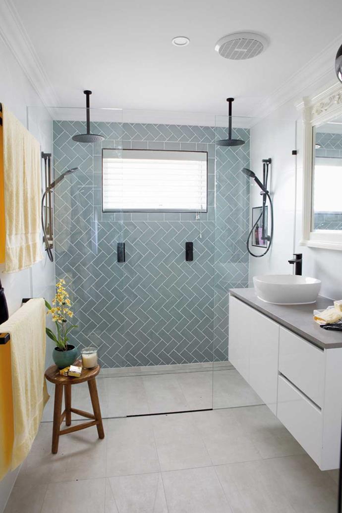 'Agrestic' wall tiles in Blue Gloss, Beaumont Tiles | Eden tapware, Highgrove Bathrooms