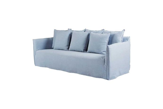 Bronte Italian linen slipcover sofa in Blue, from $2695, Urban Couture
