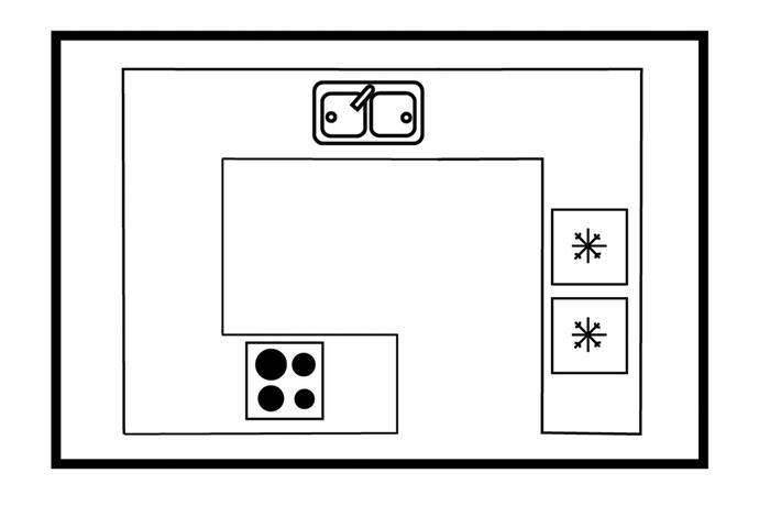 G-shape layout.