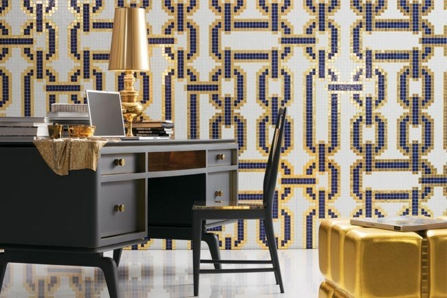 Mosaic tiles are endlessly re-invented with [Bisazza](http://www.bisazza.com/). This example of a Marco Braga Chains pattern in 24-carat leaf gold echoes 70's chic through the ages.