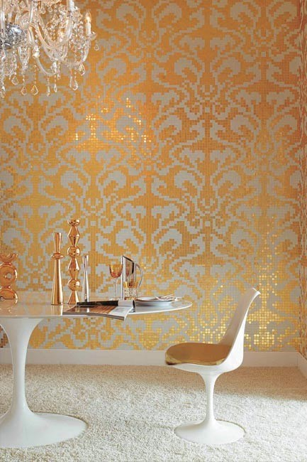 The tiled wall is the height op opulence - create this byzantine-inspired look in the bathroom - either a s a feature wall or a subtle panel. 'Damasco Oro' tiles with 24-carat gold leaf, from Bisazza.