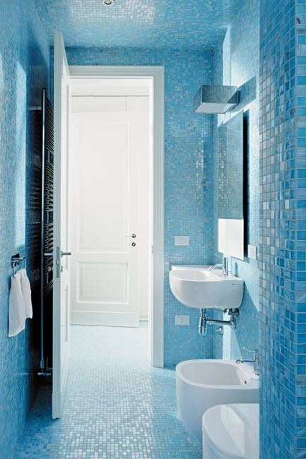 Create poolside-tones, with wall-to-wall glass mosaic tiles. Great for flat and curved surfaces, every inch can be covered, from shelves and steps to architectural features such as columns, from [Bisazza](http://www.bisazza.com/).     Image courtesy of Bisazza.