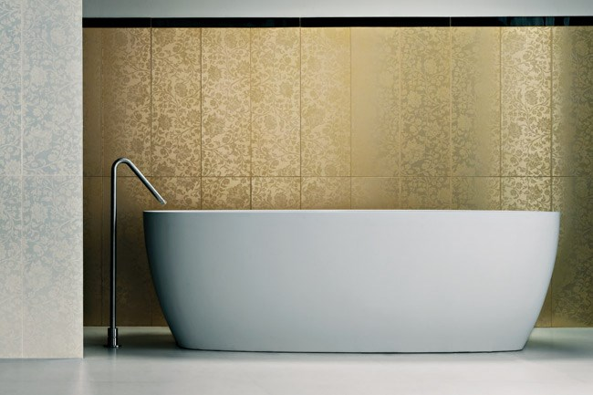 Mirraggio range of tiles have a pearlescent tone of this floral gloss pattern, from Neobarocco.
