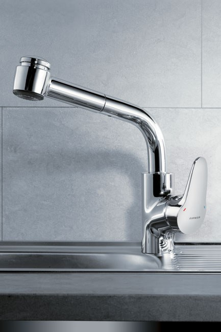 If you want maximum ease when washing, invest in a tap with a retractable spray. Cuisine sink mixer with retractable spray, $900, [Hansa](http://www.hansa.com/)