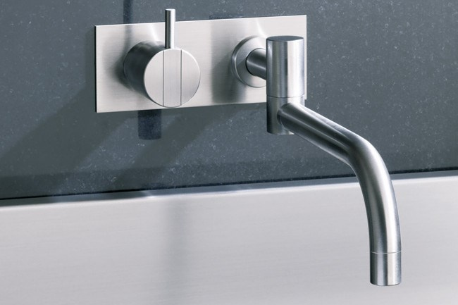 Wall-mounted taps are a great way of minimising bench-top clutter. Vola 132-40 tap set, price on enquiry, [Dedece](http://dedece.com/)