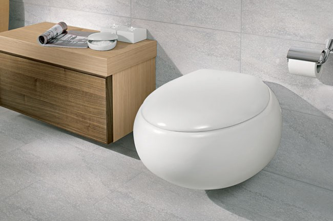 'Pure Stone' ceramic range by Villeroy & Boch features a wall hung toilet (matching bidet and basin also available), from [Argent](http://www.argentaust.com.au/).