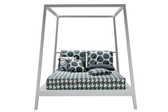 Gervasoni 'Gray 81' Four-Poster by Paola Navone, from [Anibou](http://www.anibou.com.au/). This four poster makes structure its feature. In white or grey stained oak or in natural American walnut.