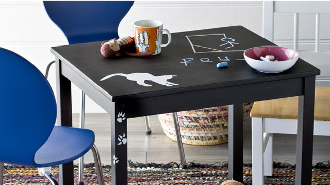 How To Paint A Child S Table With Chalkboard Paint Homelife