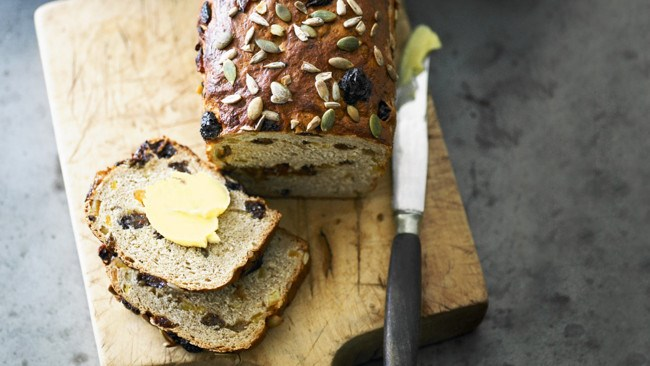 Prepare this [wholemeal raisin bread](http://www.homelife.com.au/recipes/cooking-tips/how-to-make-raisin-bread) the evening before. Bursting with sunflower and pumpkin seed goodness, it'll feed the whole family as they break bread (and break their fasts) together.