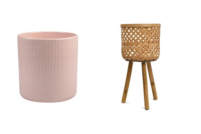 Large grid pot in pink, $12 and bamboo pot holder, $19.