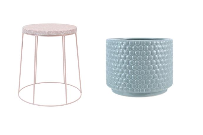 Short plant stand in pink, $10 and bubble planter in green, $5.50.