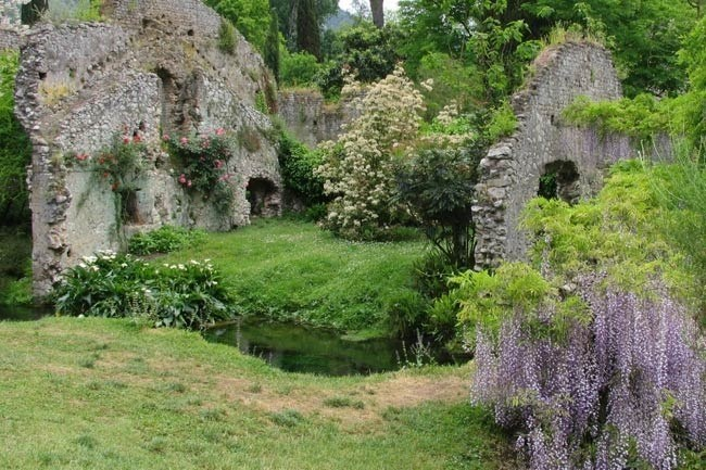 **Gardens of Ninfa in Italy** | Located in the Lazio region of Italy, about 40 miles south-east of Rome, the Gardens of Ninfa. Roses, banana trees, maples and resident ducks thrive in the microclimate of Ninfa. The dampness of the location, under the hills facing the coastal plain, leads to an unusual mixture of species.    Images courtesy of Sunday Herald Sun.