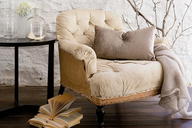 *   Napolean III buttoned armchair, from [The Country Trader](http://www.thecountrytrader.com.au/). *   Throw, from [Orson & Blake](http://www.orsonandblake.com.au/). *   'Bare' bedside table, from [Orson & Blake](http://www.orsonandblake.com.au/).