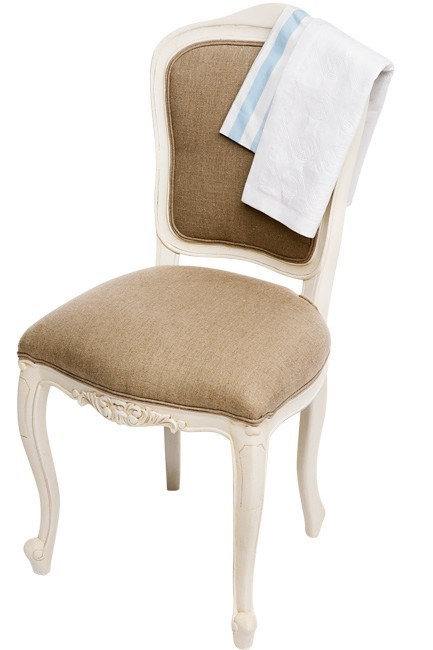 'Louis XV' reproduction chair in Antique White and upholstered in linen, from [La Maison](http://www.lamaison.net.au/).