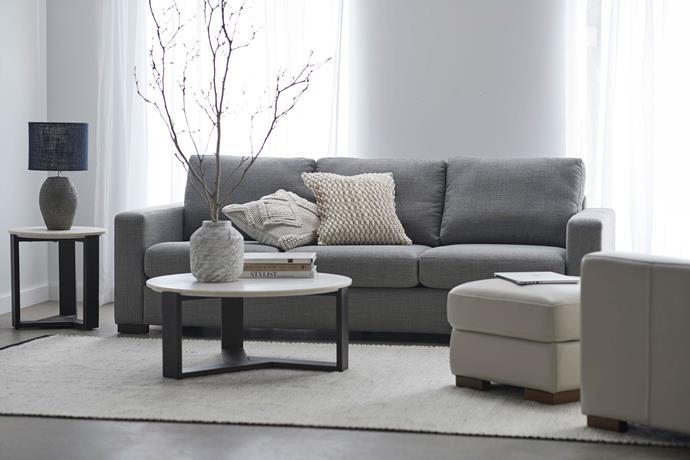 Signature three-seat fabric sofa, $1499