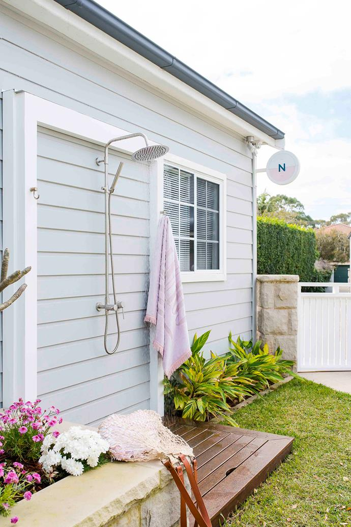 A fitting finale for this seaside sanctuary? Reece's Milli Inox overhead rail shower, for rinsing off sandy feet and bodies after a day at the beach.