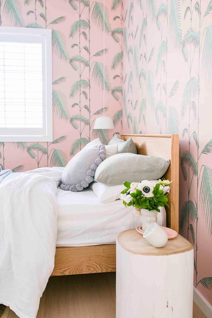 'Palm Leaves' wallpaper in Alabaster Pink & Mint, Cole & Sons.