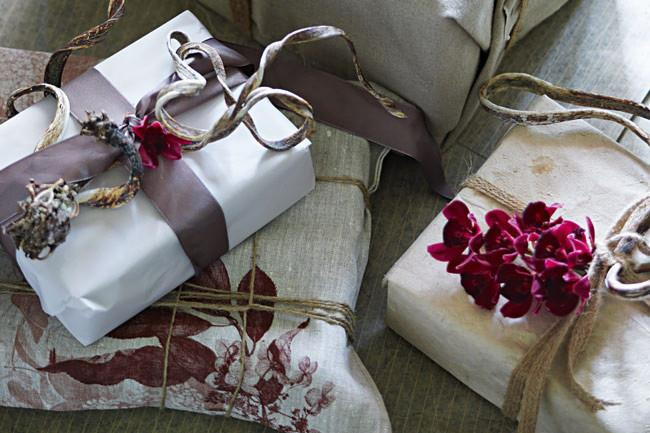 **Gift-wrapping garnish**: Spruce up gift-wrapping by tucking a sprig of flowers (or eucalyptus leaves) beneath the bow. *Photo: Hugh Stewart / bauersyndication.com.au*