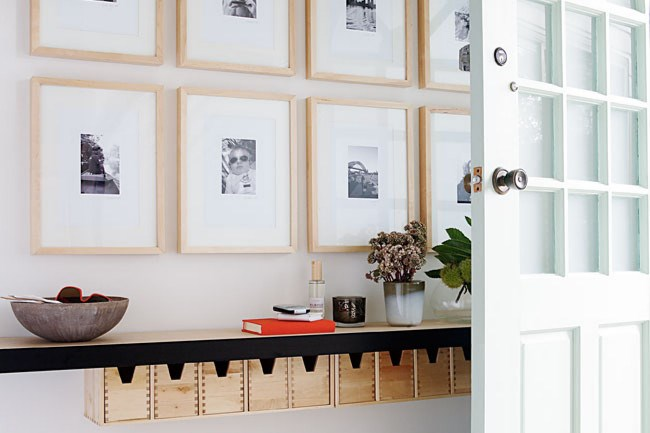 1. Floating shelves. This hallway stays neat and tidy with the addition of a floating shelf, perfect for keeping essential items on hand while maximising floor space.   Photo: Sam McAdam-Cooper