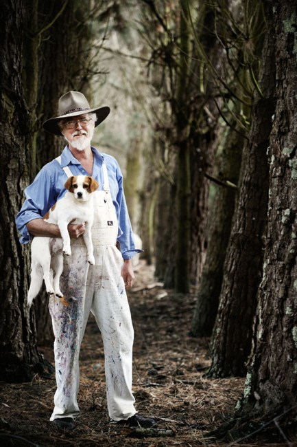 Artist [Greg Hyde](http://www.greghyde.com.au/) on his property, 'The Old Farm', with his dog Poppy.  Words and styling: Pia Jane Bijkerk | Photo: Sharyn Cairns