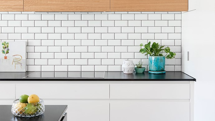 Here's how one simple tile can be laid in nine different ways to create different looks. The subway tiles pictured here, with grey grout, are from Aeria Country Floors.