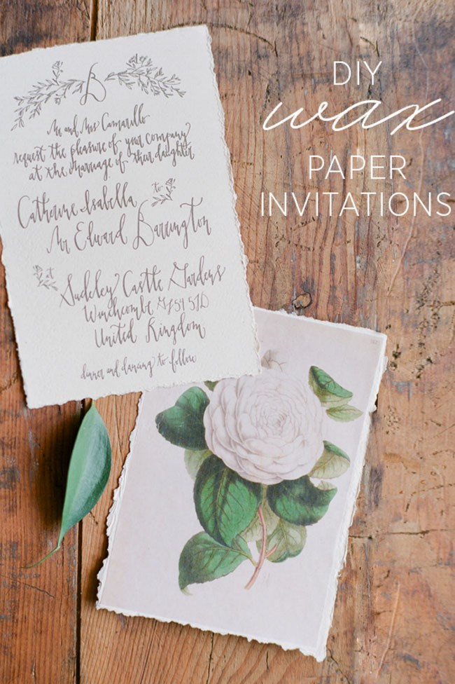 Make your own [wax paper invitations with these step-by-step instructions at Once Wed.](http://www.oncewed.com/diy/diy-wax-paper-wedding-invitations/)