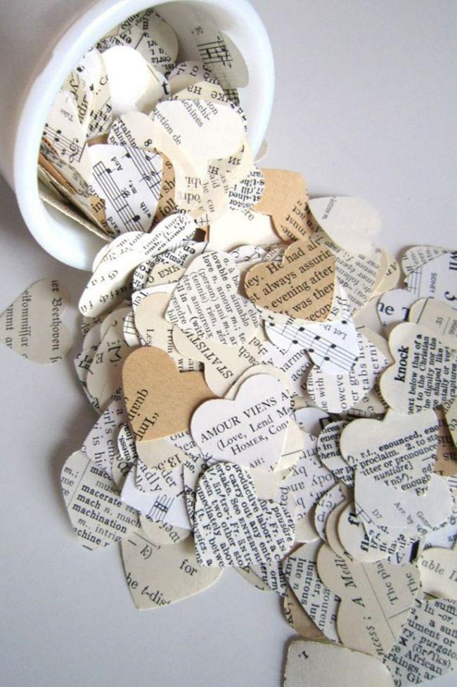 5\. Confetti hearts made from old books for the romantic at heart. Photo by [ZT Photography](http://www.ztphotography.co.uk/ ) (very cool).
