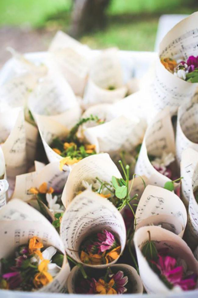12\. Wildlflowers wrapped in sheet music will bring some whimsy to a wedding. Image from [The Lane](http://thelane.com/).