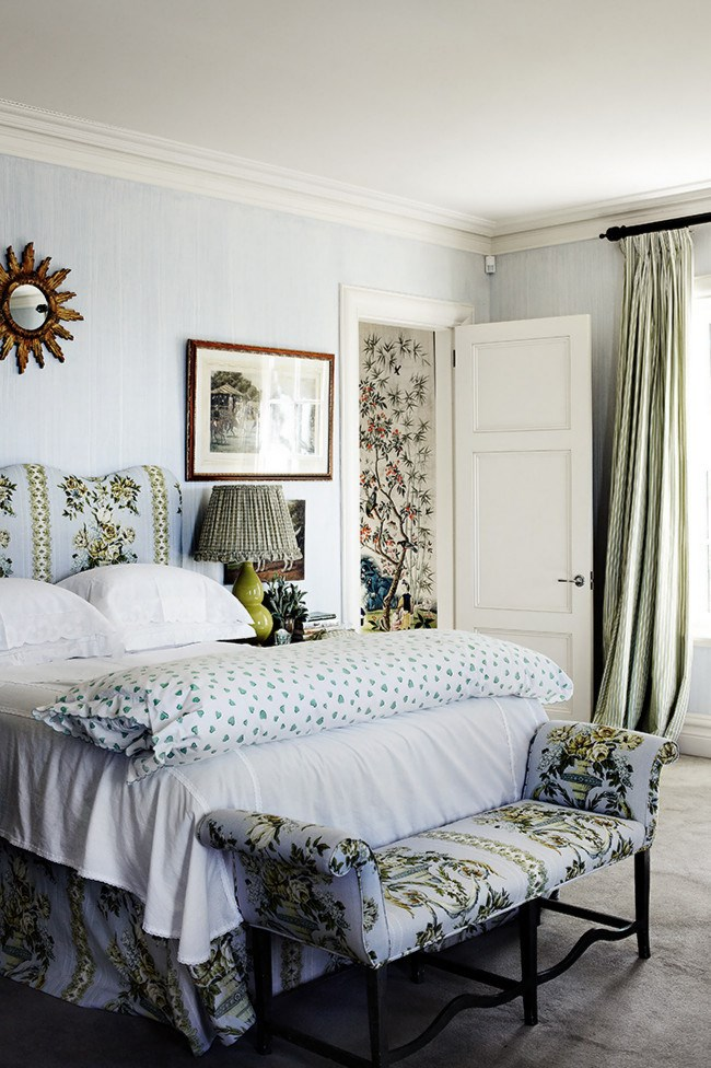 Don't be afraid to [**experiment with pattern and repetition**](http://www.homelife.com.au/decorating/galleries/decorating+with+prints,10239?pos=0). This bedroom features a headboard and chaise which have been upholstered in the same fabric as the valance to create a cohesive and calming setting while the striped curtains in complimentary hues create a lovely contrast.