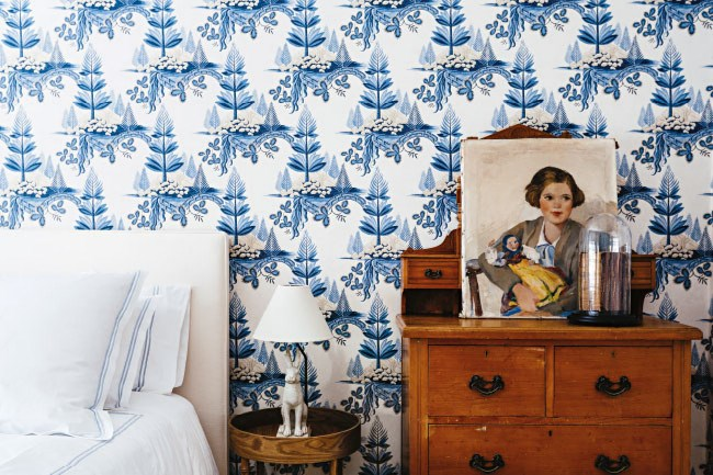 Have you considered wallpaper as an alternative to paint? In this guest bedroom, the Zoffany wallpaper, Fir Trees, from [Domestic Textile](https://www.domestictextile.com.au/)offsets an heirloom chest of drawers and contrasts with the simple bedlinens and upholstered bed head. Other good sources for wallpaper include [Sparkk](http://www.sparkk.com.au/), [Elliot Clarke](http://www.elliottclarke.com.au/), [Moore Wallpaper](http://www.moorewallpaper.com.au/), and [Natty & Polly](http://www.nattyandpolly.com.au/?gclid=CIaop7jclcYCFcaVvQodWKoAfw).