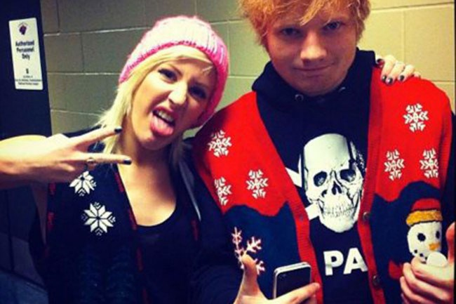 Singers Ellie Goulding and Ed Sheran sporting some Christmas magic. (Ed wins. Sorry Ellie.) _Image from [showbizdaily](http://showbizdaily.net/9206/ed-sheeran-and-ellie-goulding-dating-but-not-anymore/)_