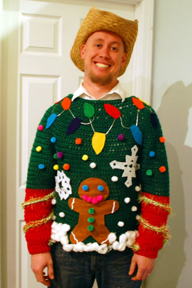 """This is Greg. He won the ugly jumper competition at his church Christmas party by commissioning this masterpiece from Melissa at [Inner Child Crochet](http://blog.innerchildcrochet.com/2012/12/ugly-sweater-contest-winner/). """"The other contestants had no chance,"""" Melissa gloated, deservingly."""